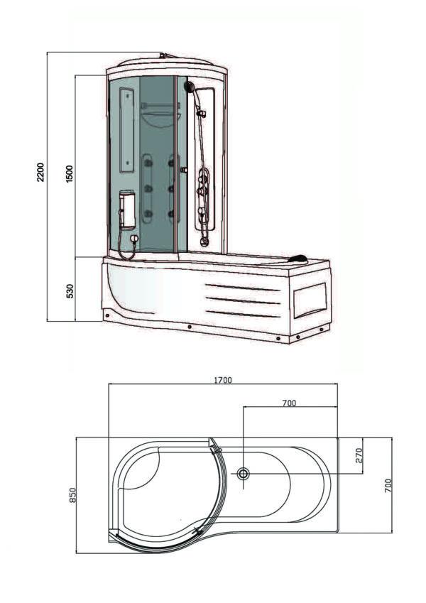 Wiesbaden Ritual bad douche combinatie 170x85x220 cm 6mm veiligheidsglas links