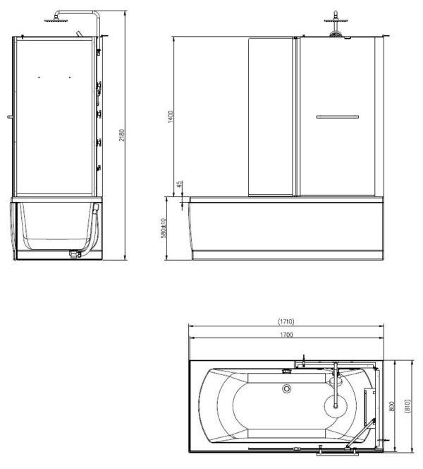Wiesbaden Vanity complete bad douche combinatie 171x81x218 5 mm veiligheidsglas rechts