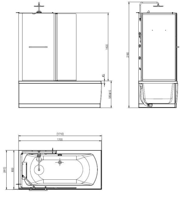 Wiesbaden Vanity complete bad douche combinatie 171x81x218 5 mm veiligheidsglas links