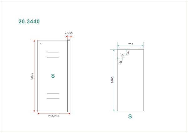 Wiesbaden Side zijwand voor Softclose 2.0 schuifdeur 80 cm 8 mm Nano