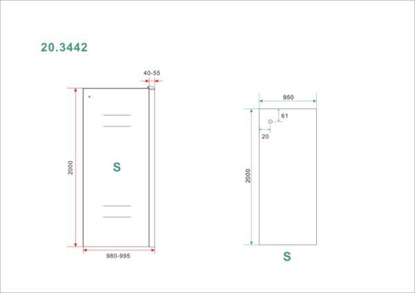 Wiesbaden Side zijwand voor Softclose 2.0 schuifdeur 100 cm 8 mm Nano