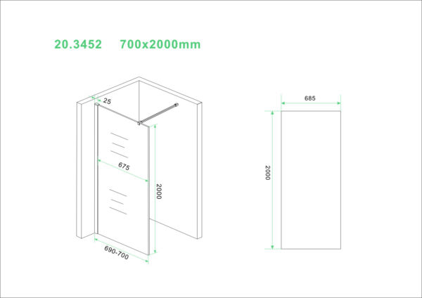 Wiesbaden Slim glasplaat helder 70x200 cm - 8mm NANO glas