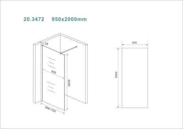 Wiesbaden Slim glasplaat helder 95x200 cm - 8mm NANO glas
