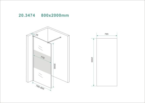Wiesbaden Slim glasplaat gedeeltelijk matglas 80x200 cm - 8mm NANO glas