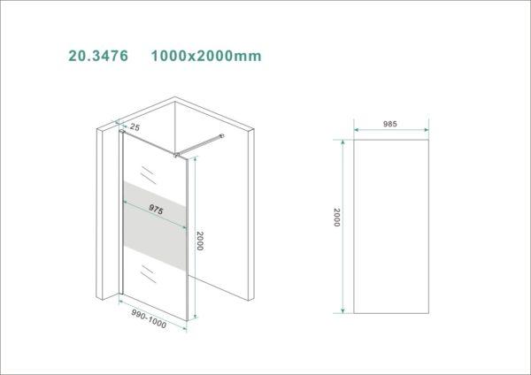 Wiesbaden Slim glasplaat gedeeltelijk matglas 100x200 cm - 8mm NANO glas