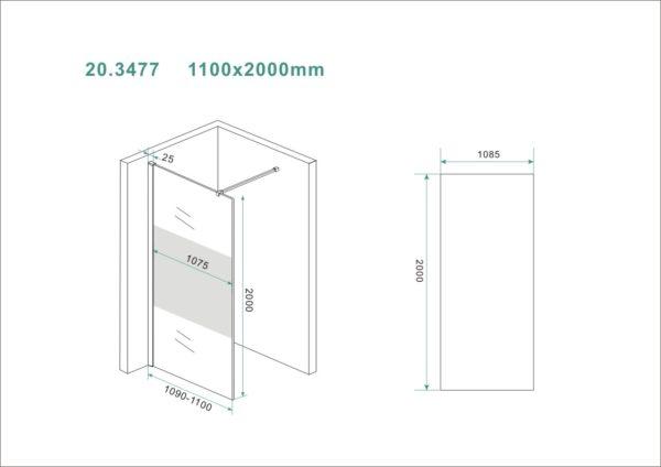 Wiesbaden Slim glasplaat gedeeltelijk matglas 110x200 cm - 8mm NANO glas