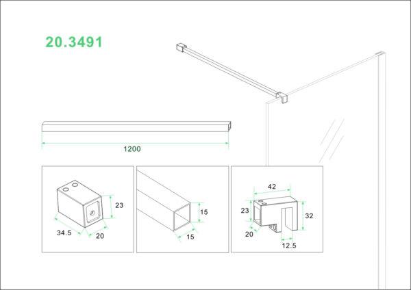Wiesbaden Slim stabilisatiestang 120 cm mat zwart