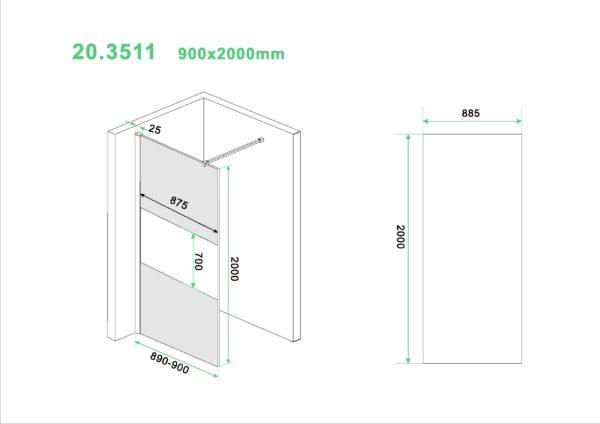 Wiesbaden Slim glasplaat gedeeltelijk matglas rookglas 90x200 cm - 8mm NANO glas