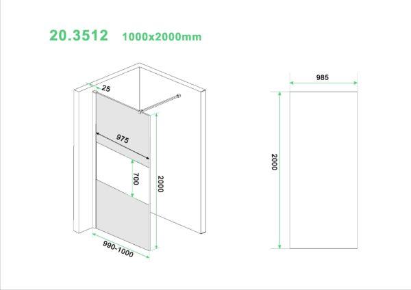 Wiesbaden Slim glasplaat gedeeltelijk matglas rookglas 100x200 cm - 8mm NANO glas