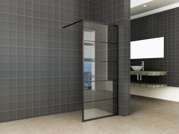 Wiesbaden Horizon inloopdouche mat zwart raster 80x200 cm - 8mm NANO glas