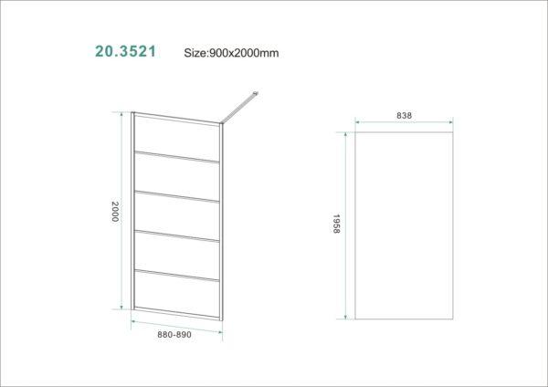 Wiesbaden Horizon inloopdouche mat zwart raster 90x200 cm - 8mm NANO glas