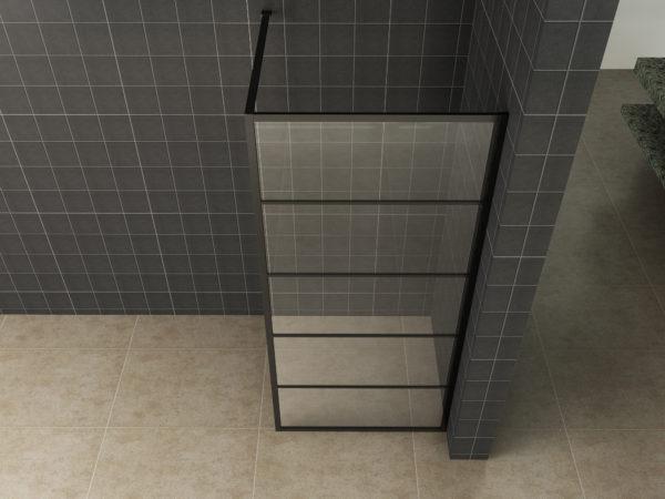 Wiesbaden Horizon inloopdouche mat zwart raster 120x200 cm - 8mm NANO glas