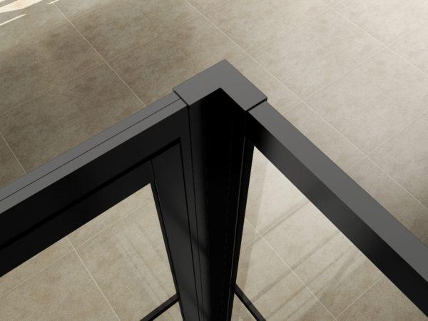Wiesbaden Horizon koppelset inloopdouche met nisdeur mat zwart