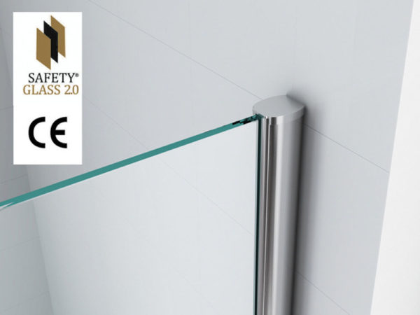 Wiesbaden Safety Glass inloopdouche  90x200 cm - 10mm NANO Safety glass