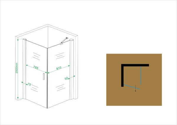 Wiesbaden swingdeur + zijwand UNI 900x900x2000 chr.8mm NANO
