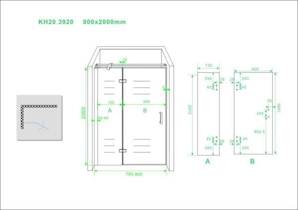 Wiesbaden nis swingdeur + vast paneel 80 (60-20) x 200 cm NANO