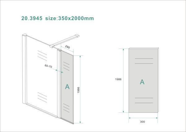 Wiesbaden zijwand + scharnierprofiel 350x2000 10mm NANO rookglas