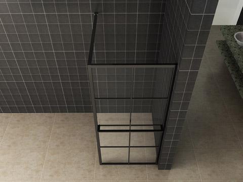 Wiesbaden inloopdouche zwart raster+handdoekhouder 100x200 cm - 10mm NANO glas