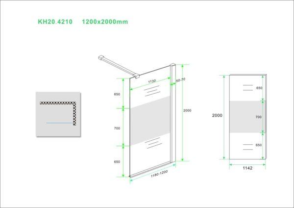 Wiesbaden inloopdouche 120x200 cm - 10mm NANO gedeeltelijk matglas