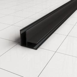 Wiesbaden hoekprofiel tbv glaswand 1cm 200cm matzwart