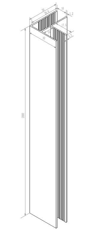 Wiesbaden hoekprofiel tbv glaswand 1cm 200cm mat-wit