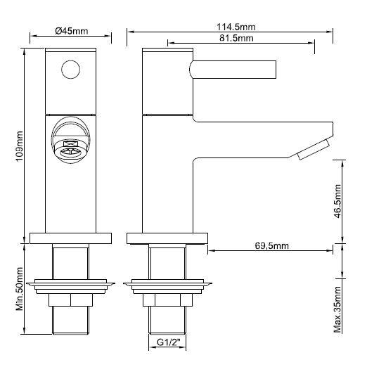 Wiesbaden Amador toiletkraan 1/2'' zwart
