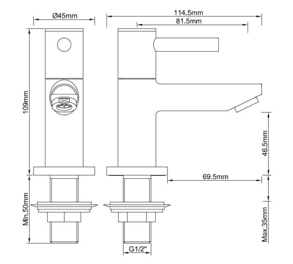 Wiesbaden Amador toiletkraan 1/2'' chroom
