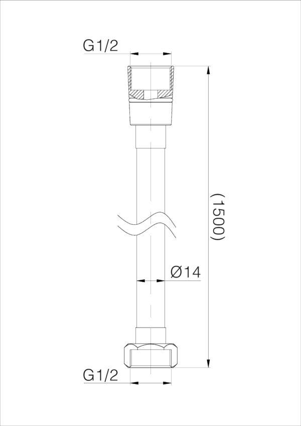 Wiesbaden 304-RVS doucheslang 150cm