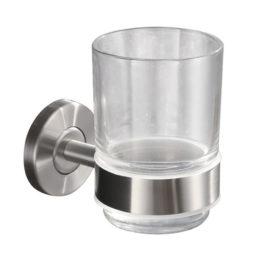 Brush glas met houder RVS