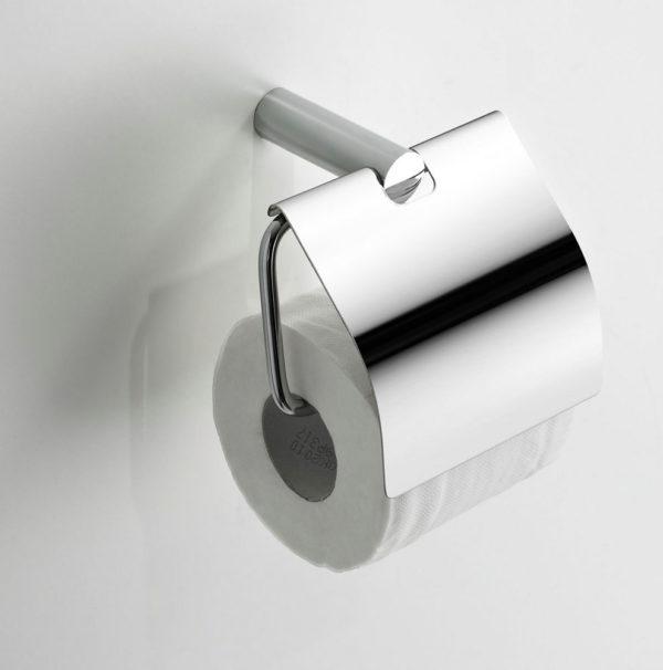 Wiesbaden Ida toiletrolhouder met klep chroom