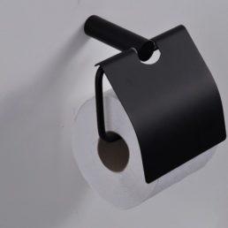 Wiesbaden Ida toiletrolhouder met klep zwart