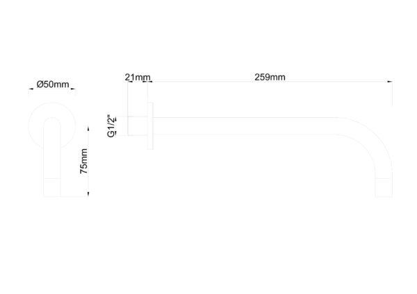 Slim inbouw uitloop 25 cm zwart