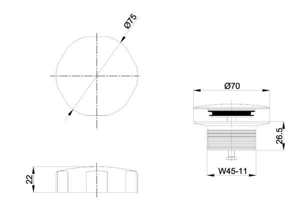 Wiesbaden knop/plug badoverloopcombinatie geborsteld staal