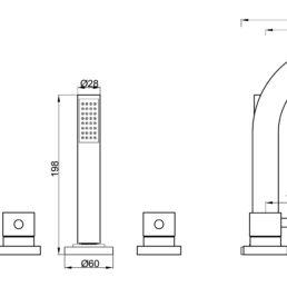 Wiesbaden Caral 5-gats badrandcombinatie mat-zwart