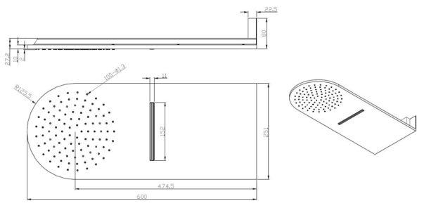 Wiesbaden luxe wand-hoofddouche+waterval 25x60 chroom
