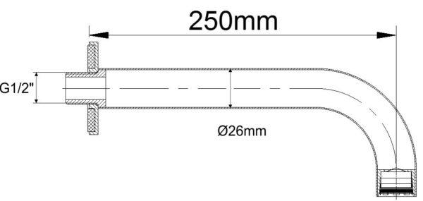 Wiesbaden inbouw-uitloop rond 25cm 1/2'' chroom