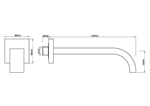 Wiesbaden inbouw-uitloop vierkant 22cm 1/2'' geborsteld staal
