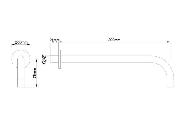 """Wiesbaden SLIM 18mm uitloop rond 30cm 1/2"""" geborsteld staal"""