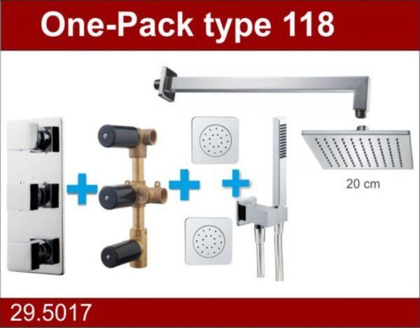 Wiesbaden one-pack inbouwthermostaatset type 118 CHR