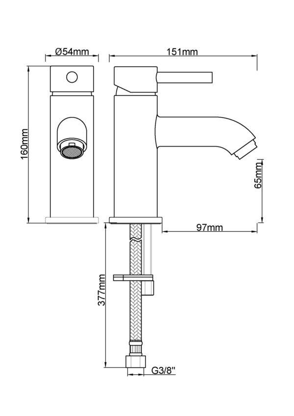 Wiesbaden Cadans wastafelmengkraan laag geborsteld koper