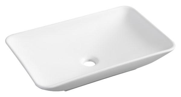 Kare opzetwastafel 58 x 36 cm mat wit