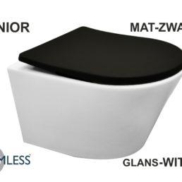 Vesta compact wandcloset 47 cm mat wit met Shade zitting mat zwart