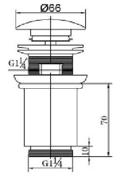 Wiesbaden luxe clickwaste 5/4 hoog model chroom