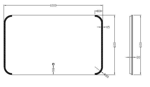 Wiesbaden Bracket dimbare LED condensvrije spiegel 100x60cm