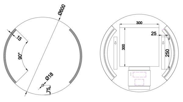 Wiesbaden Round dimbare LED condensvrije spiegel rond 60cm
