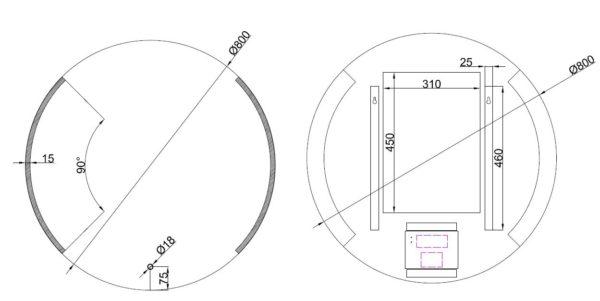 Wiesbaden Round dimbare LED condensvrije spiegel rond 80cm