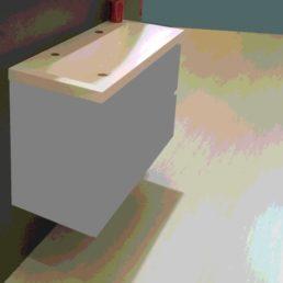 Wiesbaden wastafel 100cmx36cm twee kraangaten wit