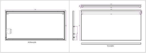Wiesbaden Ambi One dimbare Led condensvrije spiegel 120x60cm