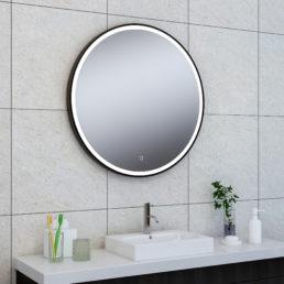 Wiesbaden Maro spiegel 80cm rond + Led matzwart