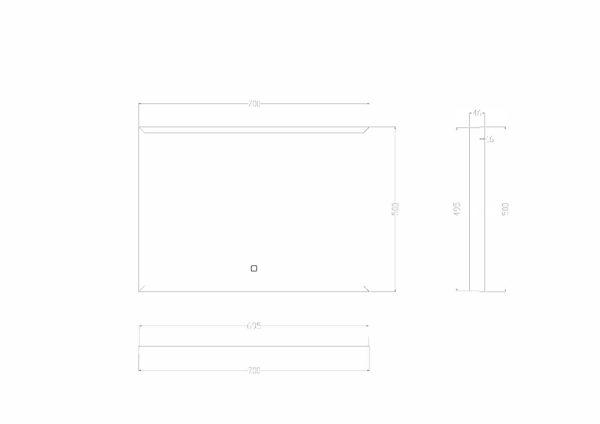 Wiesbaden Rechthoekige condensvrije LED-spiegel 70x50cm matzwart